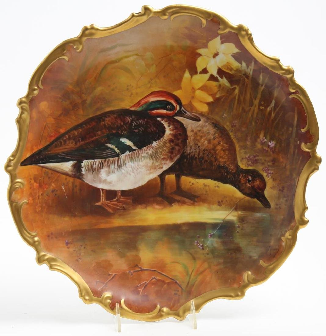 "Limoges Porcelain ""Wood Duck"" Cabinet Plate"
