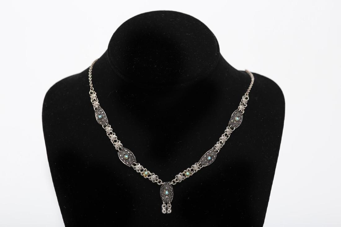 Israeli Silver Necklace, Filigree Sterling Choker