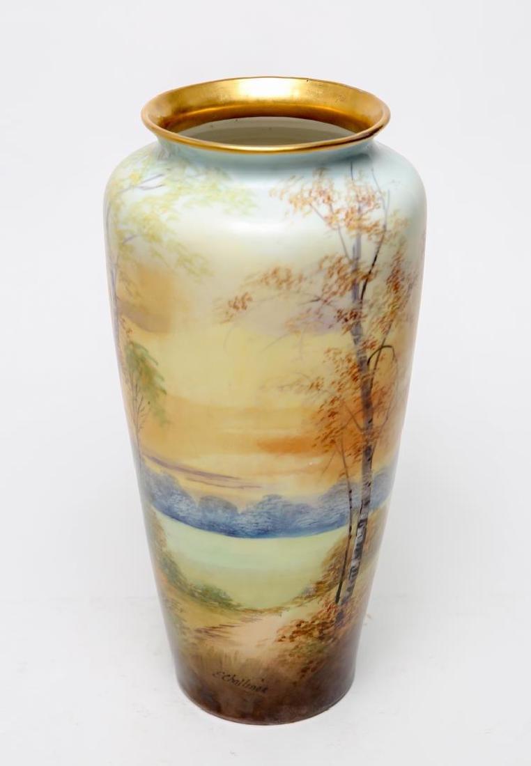 T&V Limoges Porcelain E. Challinor Vase, 1920s - 2