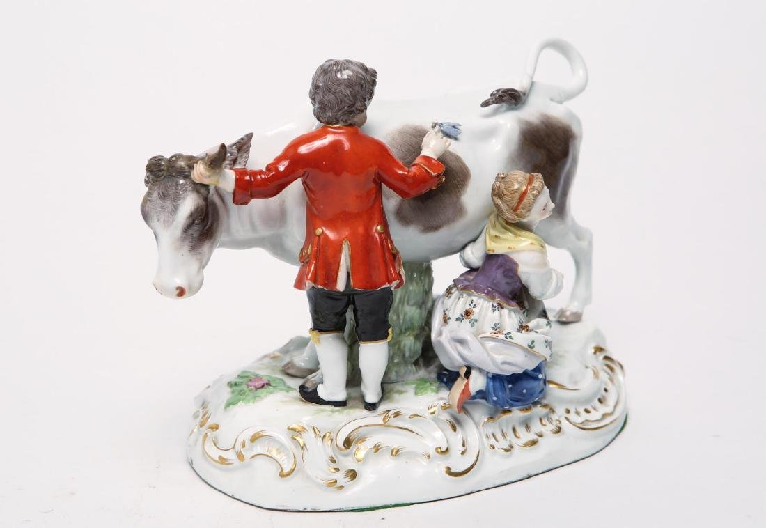 Meissen Porcelain Group- Cow, Milkmaid & Suitor