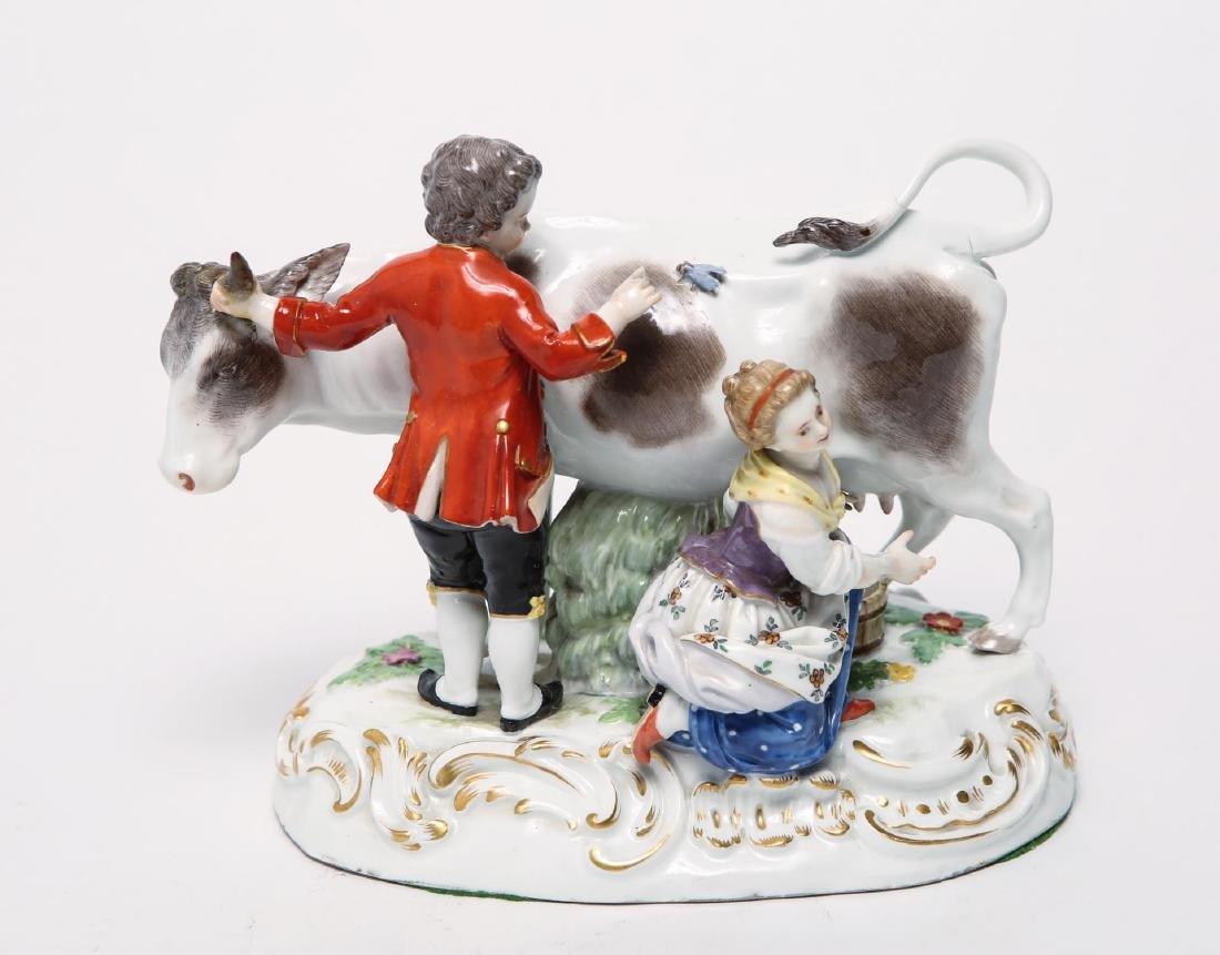 Meissen Porcelain Group- Cow, Milkmaid & Suitor - 2