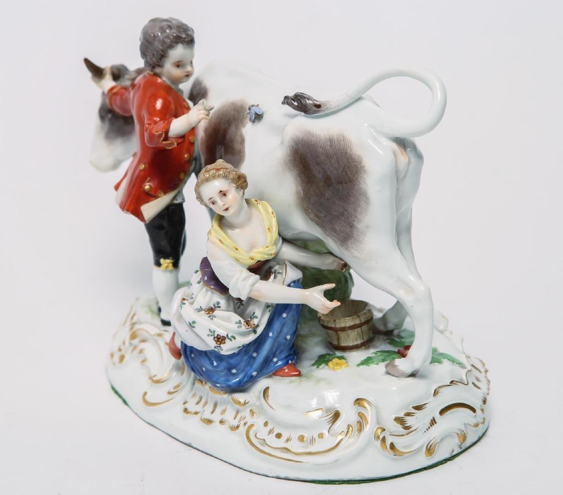 Meissen Porcelain Group- Cow, Milkmaid & Suitor - 3