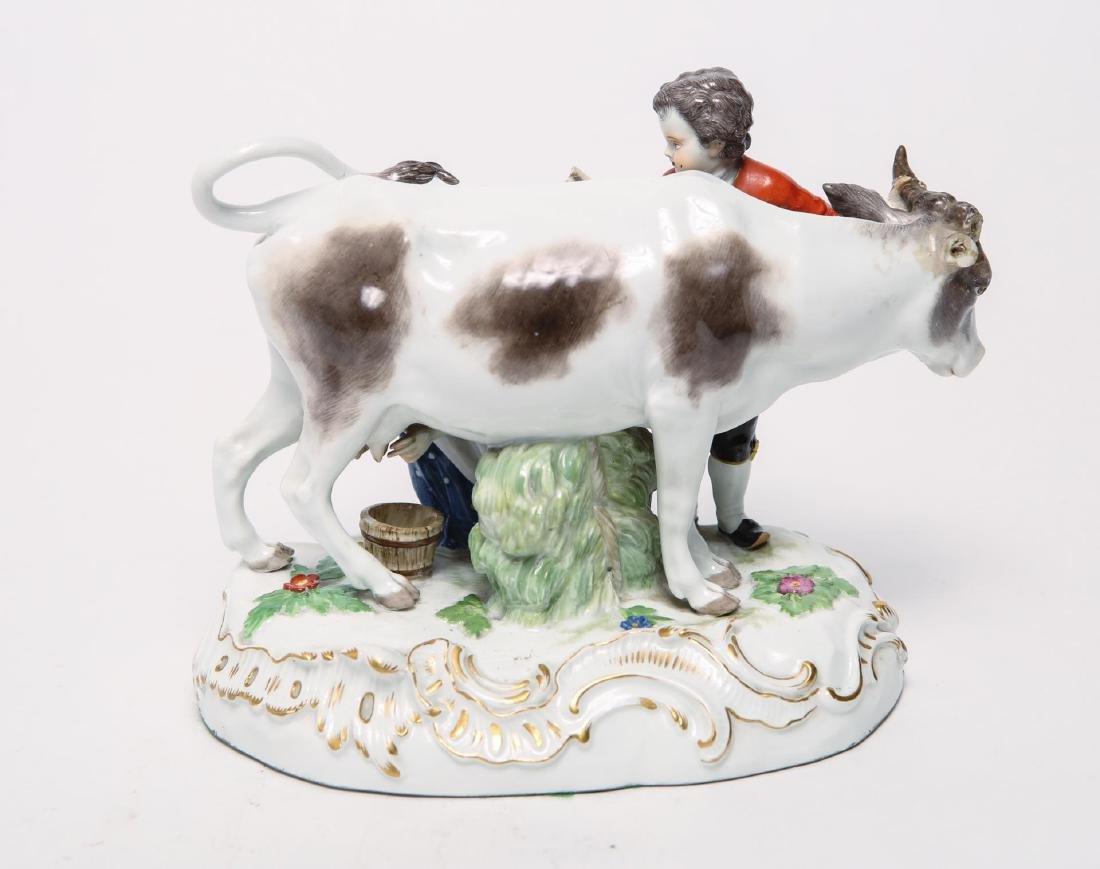 Meissen Porcelain Group- Cow, Milkmaid & Suitor - 4