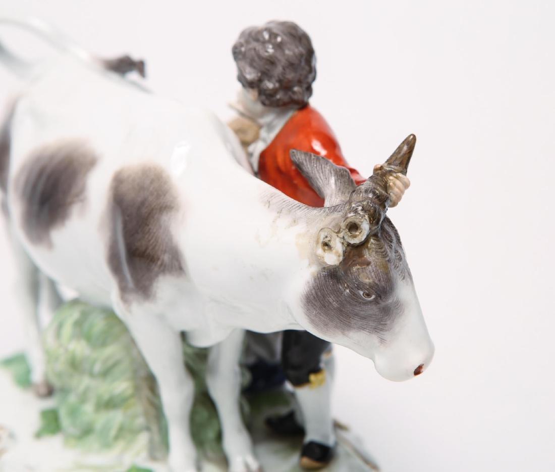 Meissen Porcelain Group- Cow, Milkmaid & Suitor - 5