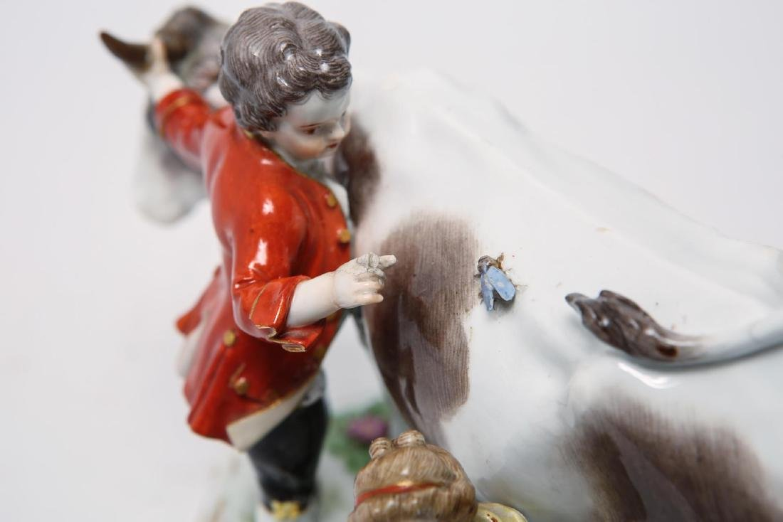Meissen Porcelain Group- Cow, Milkmaid & Suitor - 6
