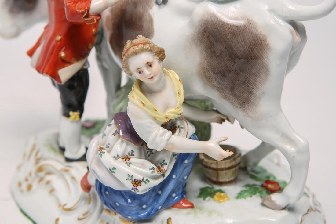 Meissen Porcelain Group- Cow, Milkmaid & Suitor - 7