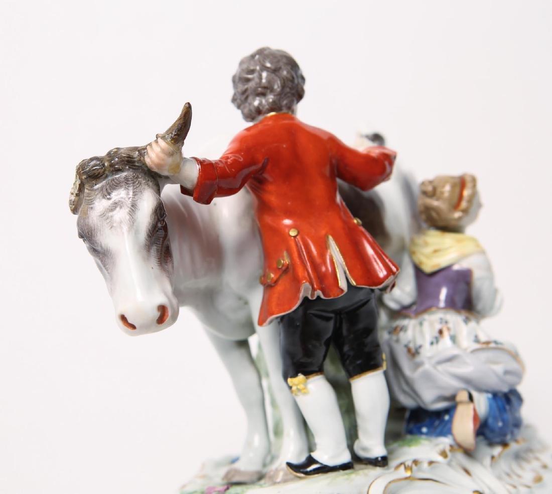 Meissen Porcelain Group- Cow, Milkmaid & Suitor - 9