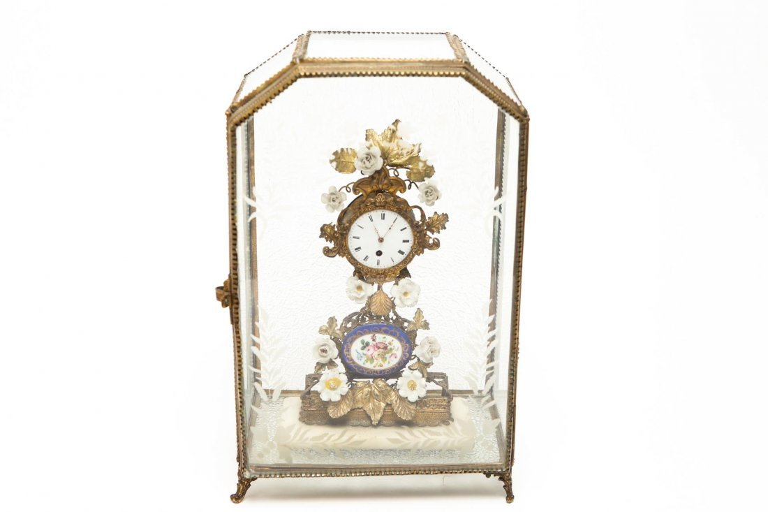 French Rococo-Manner Clock, Ormolu & Porcelain