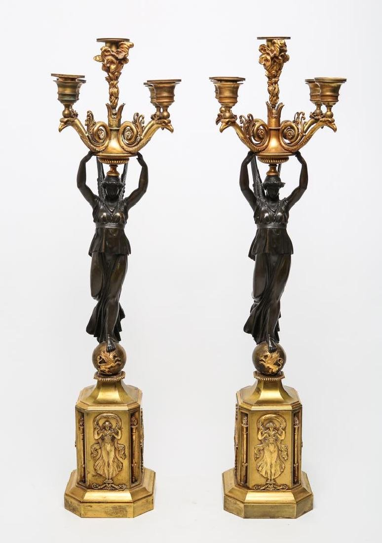 French Empire Candelabra, Bronze, Victory-Form