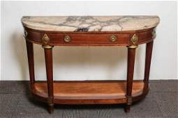 French Demilune Console Table, Marble-Top