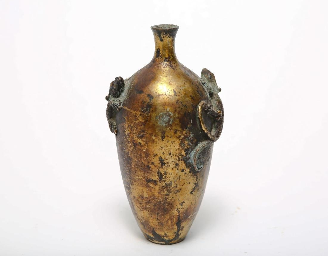 Chinese Meiping Vase with Salamanders, Gilt Bronze