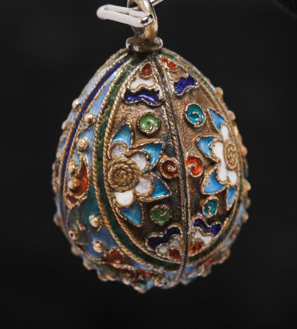 Russian Enameled Silver Egg Pendant, After Faberge - 2