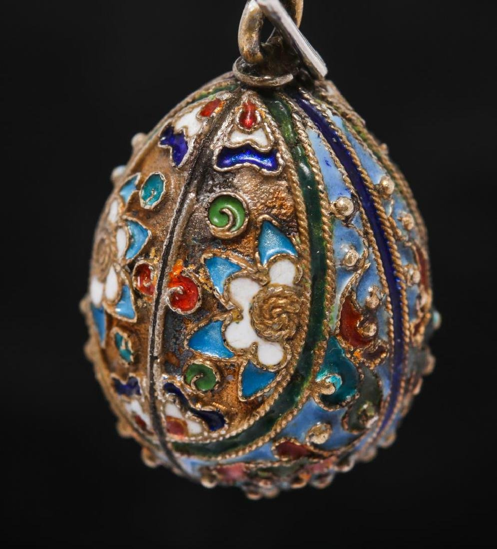 Russian Enameled Silver Egg Pendant, After Faberge - 3