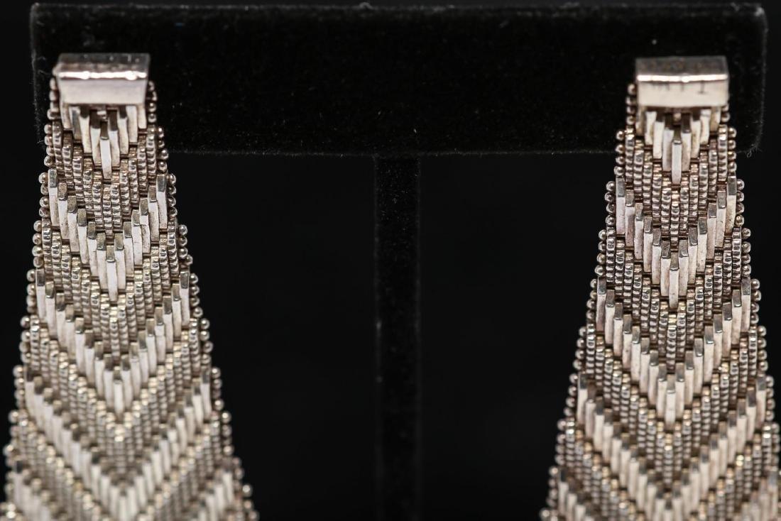 Mexican Silver Earrings, Southwestern-Manner - 4