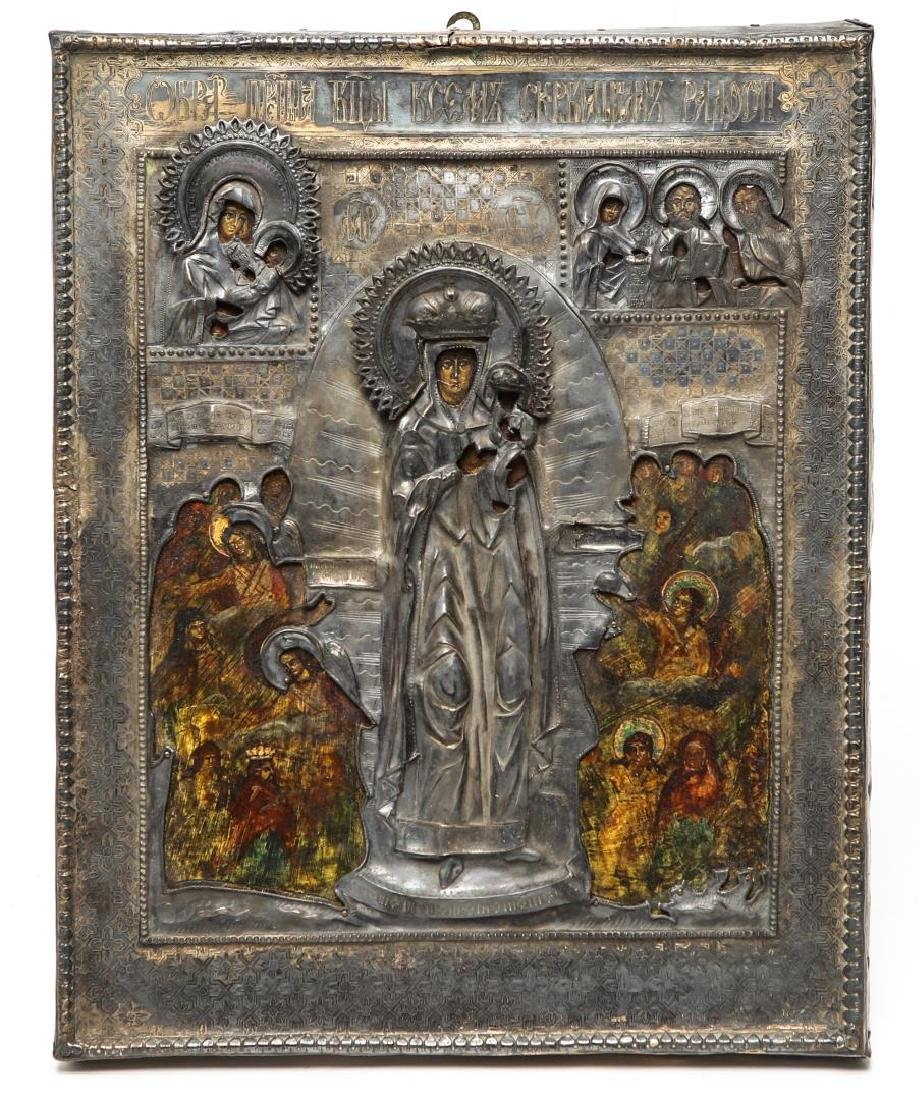 Russian Icon of Mary with Silver Oklad, Antique