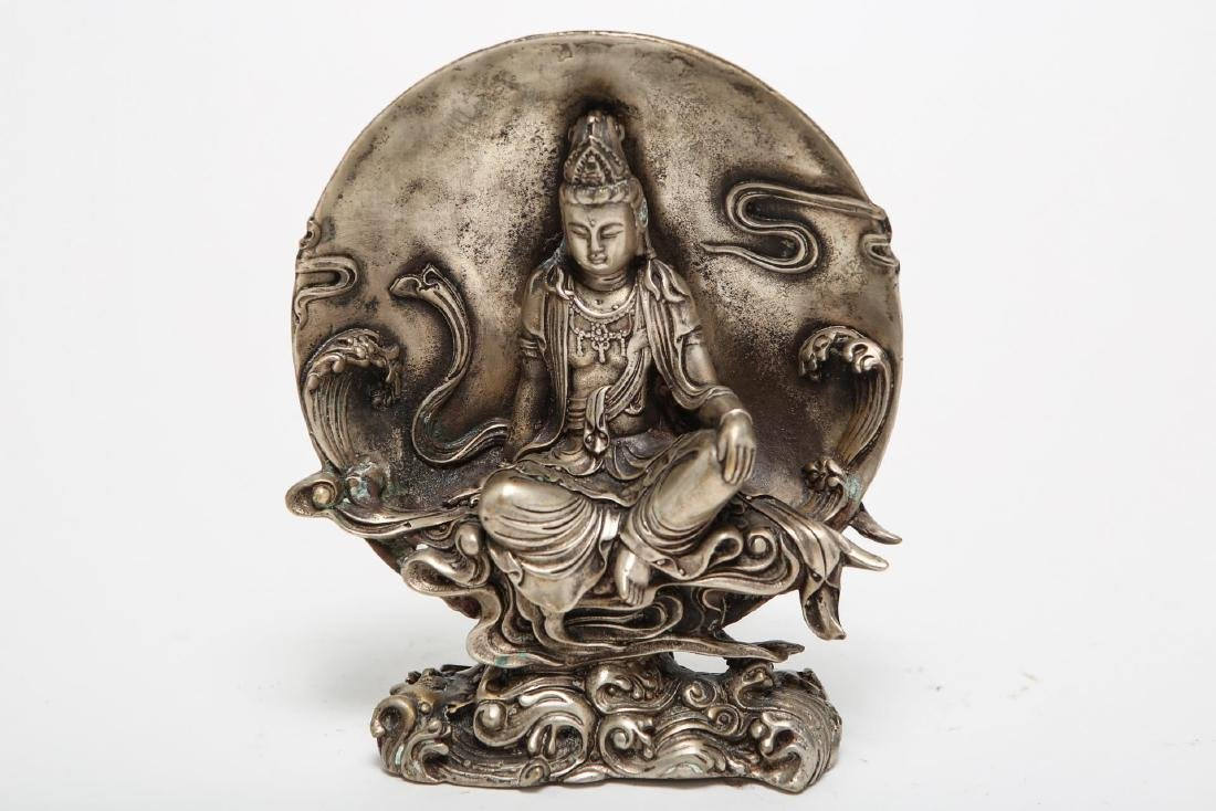Chinese Avalokiteshvara Figure, Silvered Metal