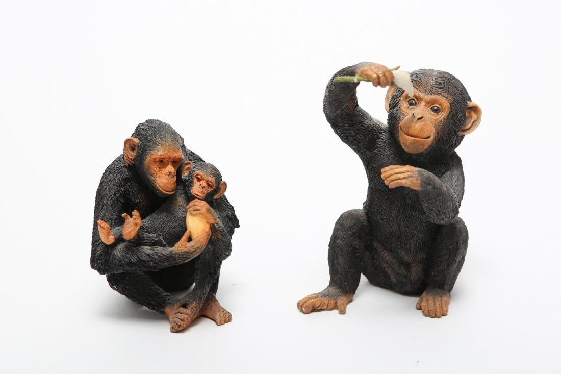 Vintage Carved Chimpanzee & Monkey Sculptures