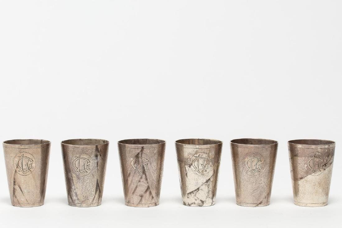 Chinese Export Silver Shotglass Cups, Zee Sung, 6