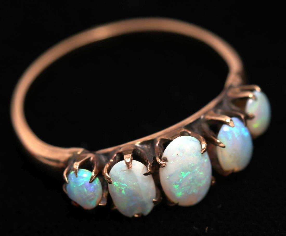 Opal Ring, 10K Gold Band with Graduated Stones