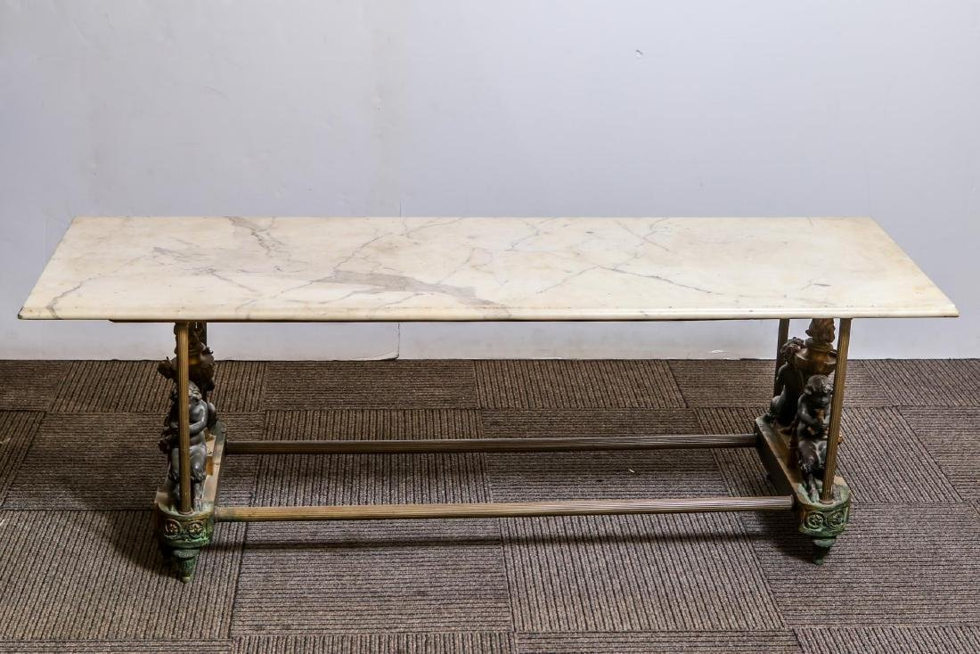 French Empire-Manner Low Table, Bronze & Marble