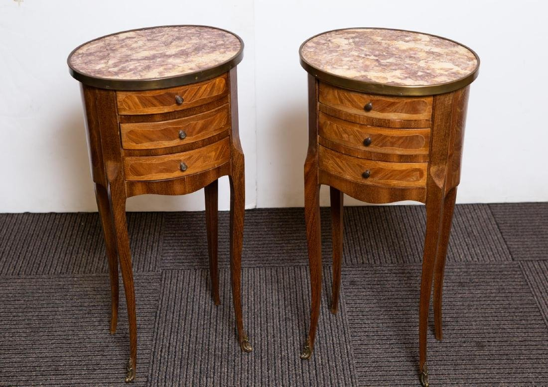 Louis XV-Manner Side Tables, Pair w/ Marble Tops