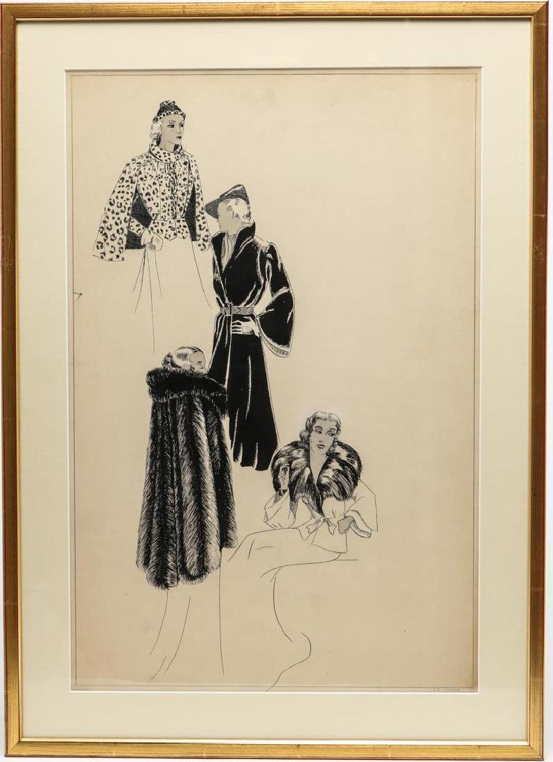 "Art Deco Fashion Plate, Signed ""E.C. Clarke"""