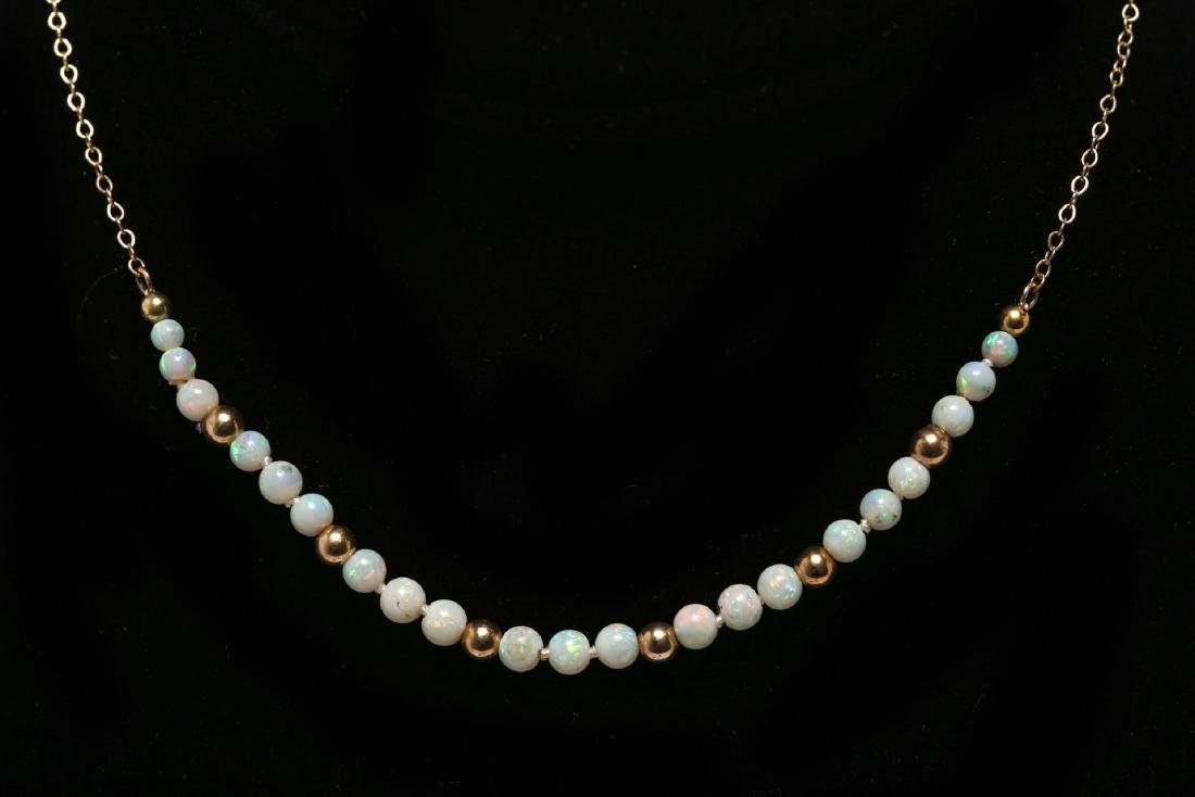 Opal Choker Necklace, with 14K Gold Chain