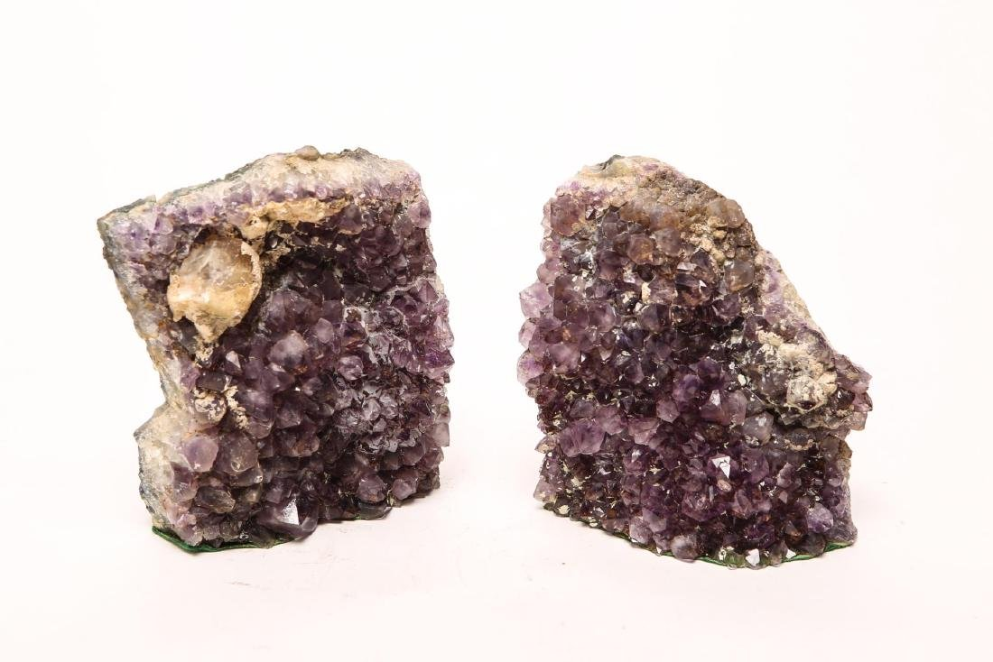 Amethyst Geode Bookends, Large Pair