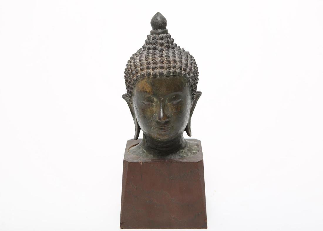 Asian Shakyamuni Buddha Head, Patinated Bronze