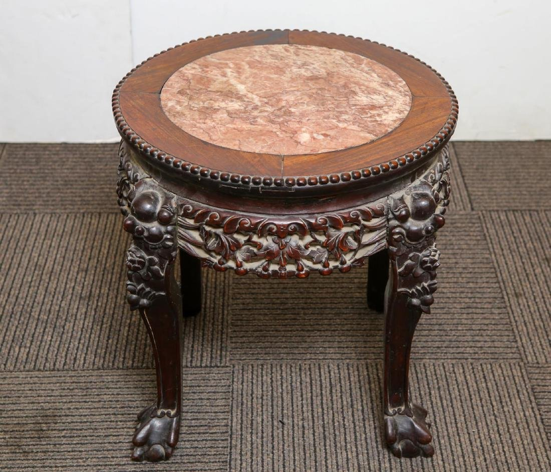 Chinese Carved Hardwood Table, Antique Marble-Top