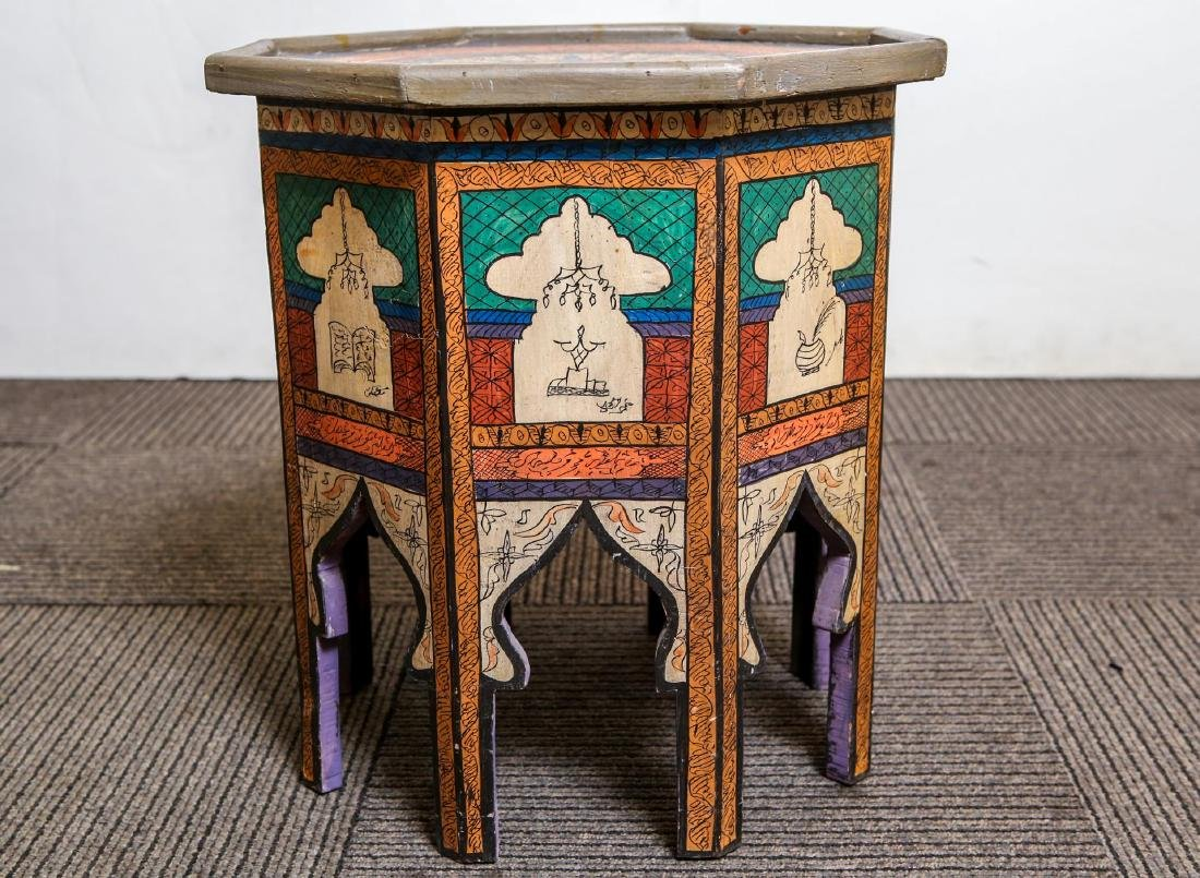 Moroccan Table, Vintage Islamic Painted Wood