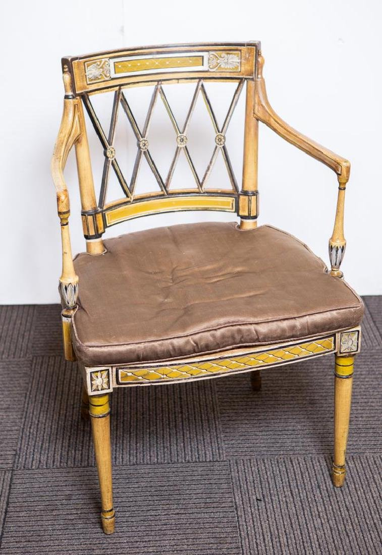 Adam-Manner Painted Wood Chair, Antique
