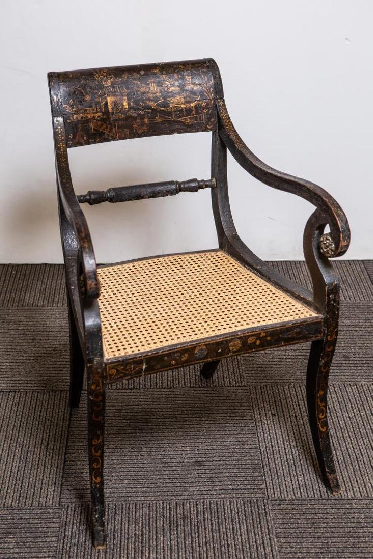 English Regency Chinoiserie Armchair, Antique