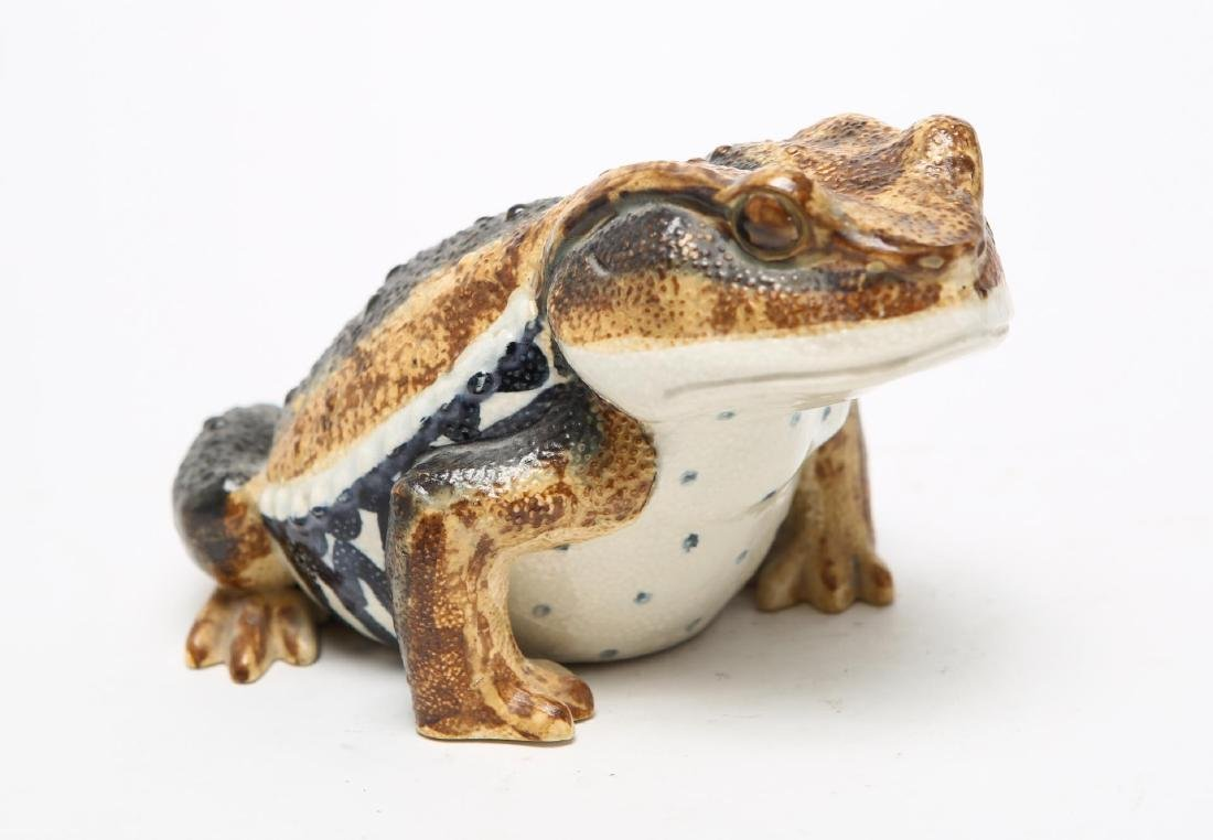 Porcelain Frog or Toad Sculpture, Hand-Painted