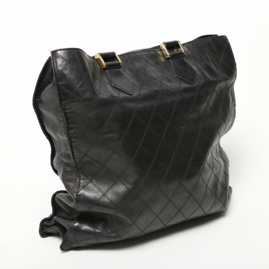 Vintage Chanel Tote Bag, Black Leather