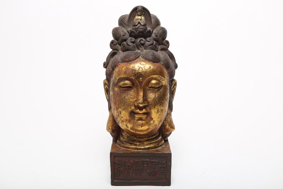 Tibetan Giltwood Head of Guanyin