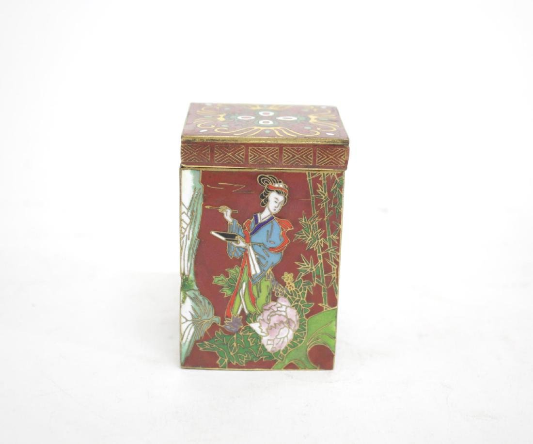 Japanese Champleve Enamel Trinket Box, Vintage