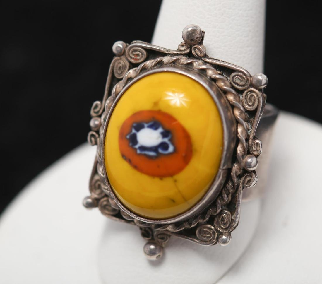 Middle Eastern Silver Ring, with Millefiori Glass