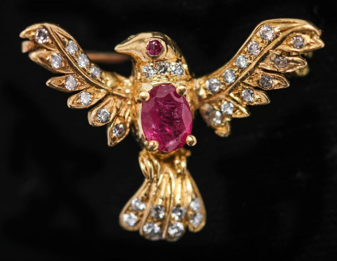 Dove Brooch, 18K Gold with Ruby & Diamond