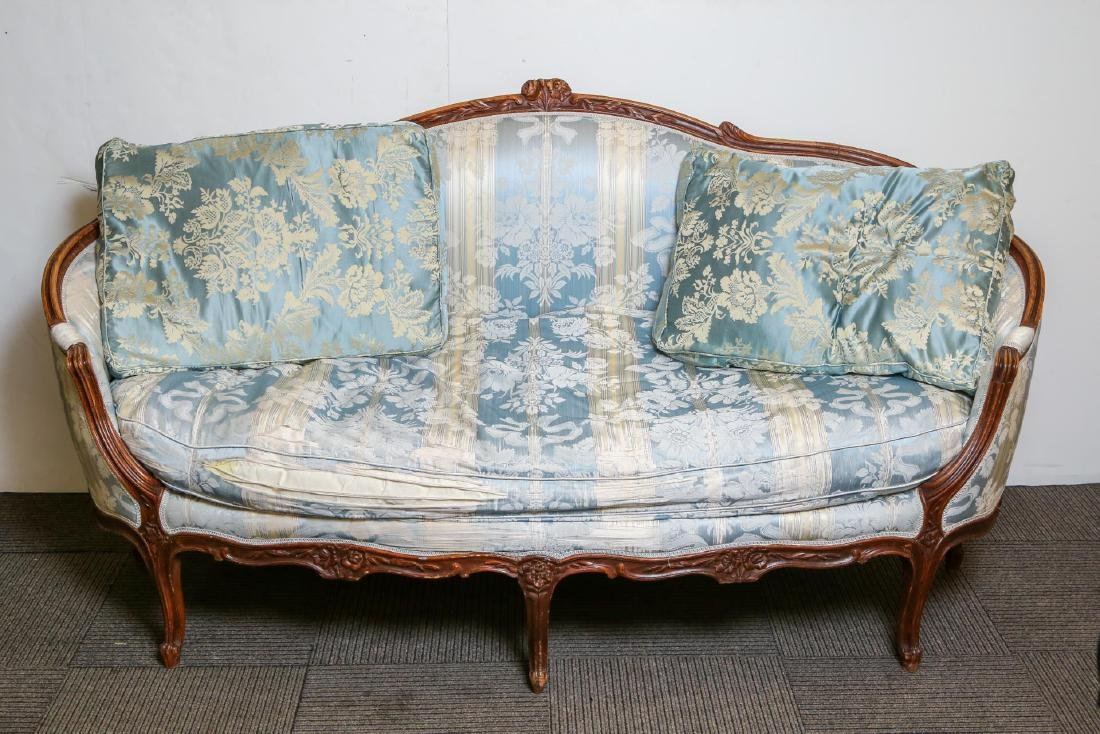 Louis XV-Manner Sofa, Camelback, Upholstered