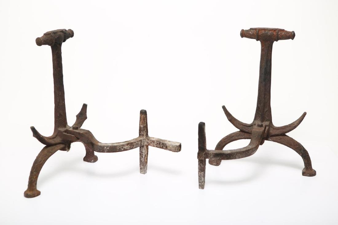 Anchor-Form Andirons, Cast Iron Naval-Themed