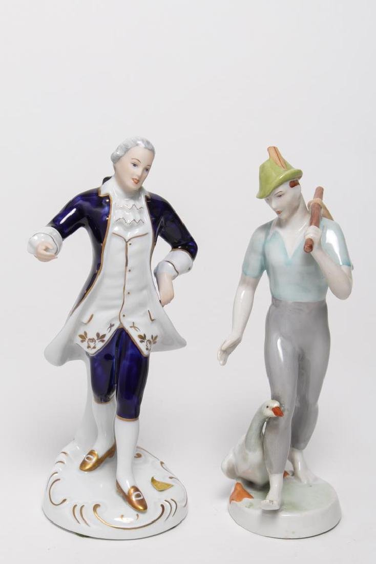 European Porcelain Figurines, Antique, 2 Pcs
