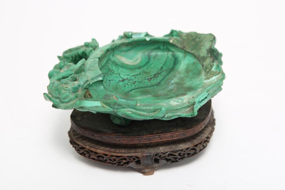 Chinese Carved Malachite Dish on Stand
