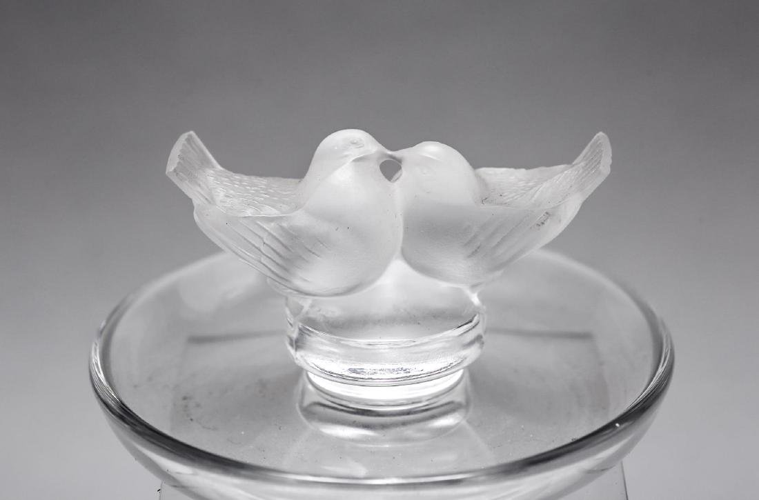 "Lalique ""Lovebirds"" Ring Tray Satin & Clear Glass"