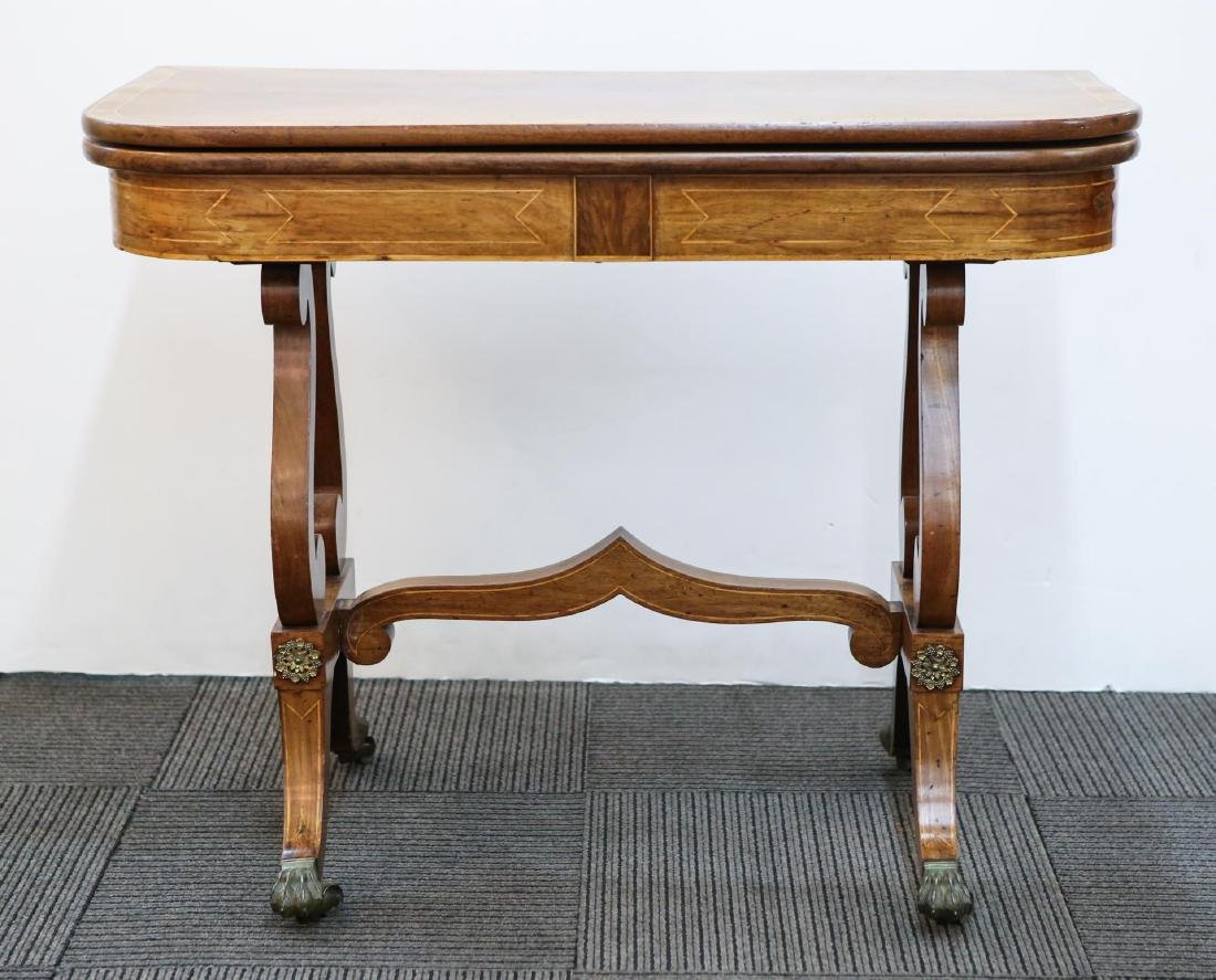 English Regency Wood Game Table, Antique