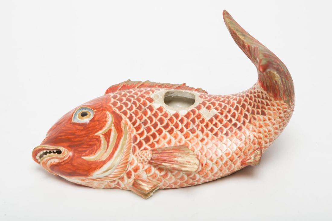 Japanese Porcelain Incense Burner, Koi Carp Fish