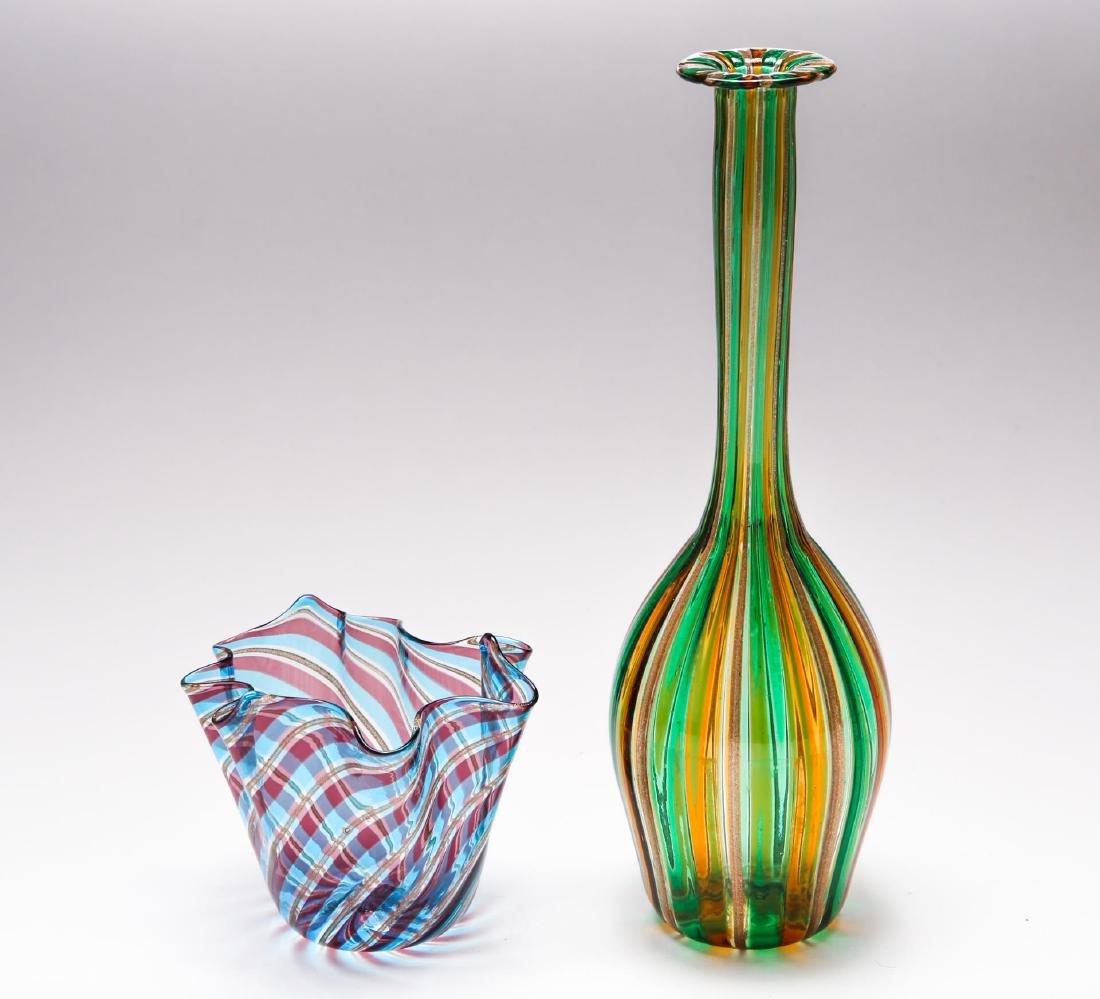 Murano Glass Vases, 2 Venetian Italian