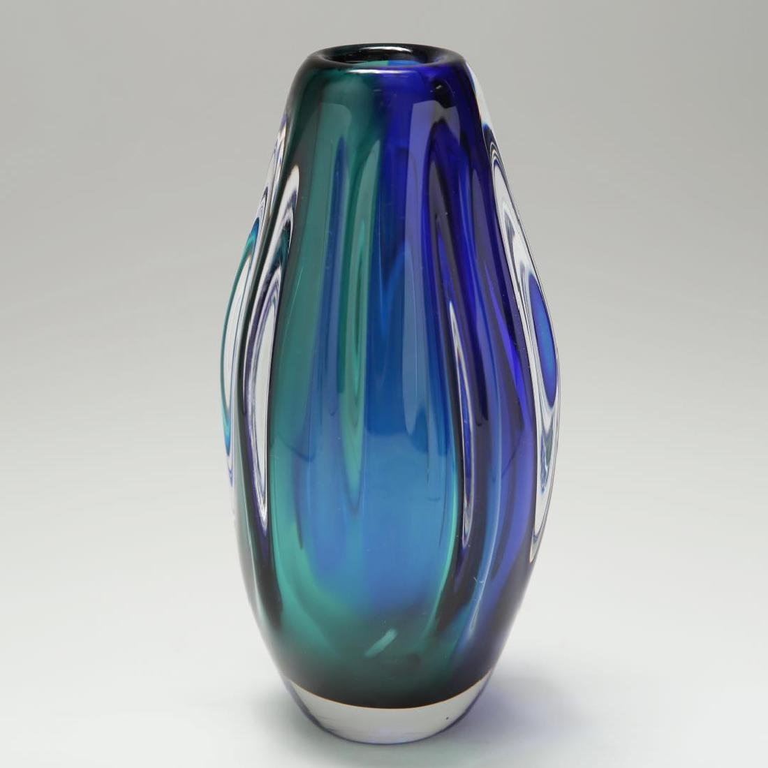 Murano Sommerso Glass Vase, Cobalt Blue & Green
