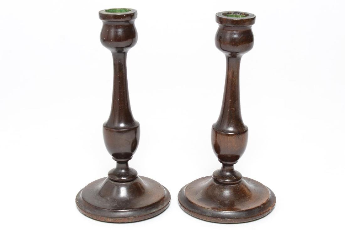 Antique Turned Wood Candlesticks, Pair