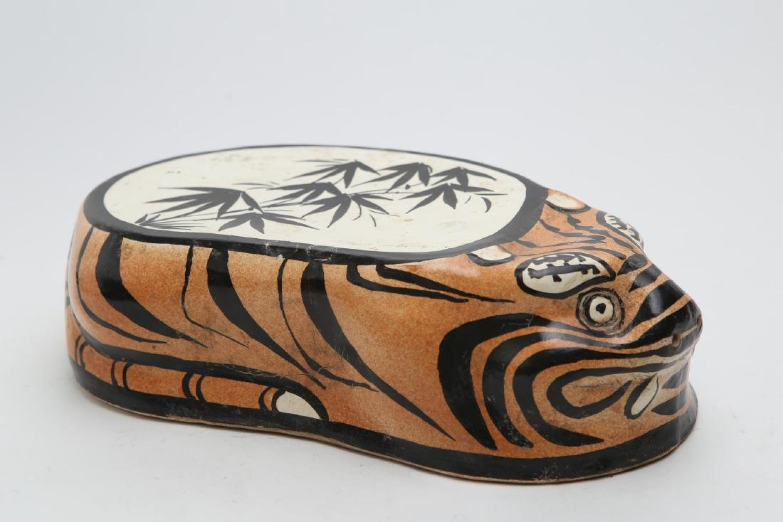 Chinese Tiger Pillow, Stoneware Pottery